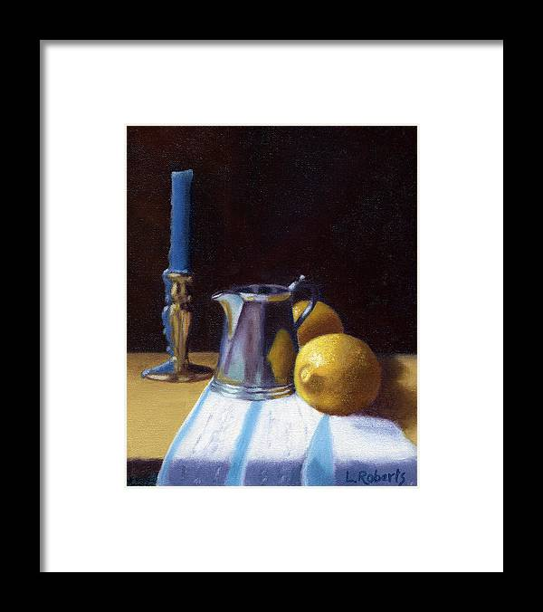 Lemon Framed Print featuring the painting Still Life with Lemons by Laura Roberts