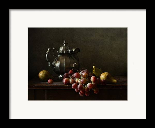 Fine Art Photograph Framed Print featuring the photograph Still Life With Pewter Teapot And Grapes And Pears by Diana Amelina