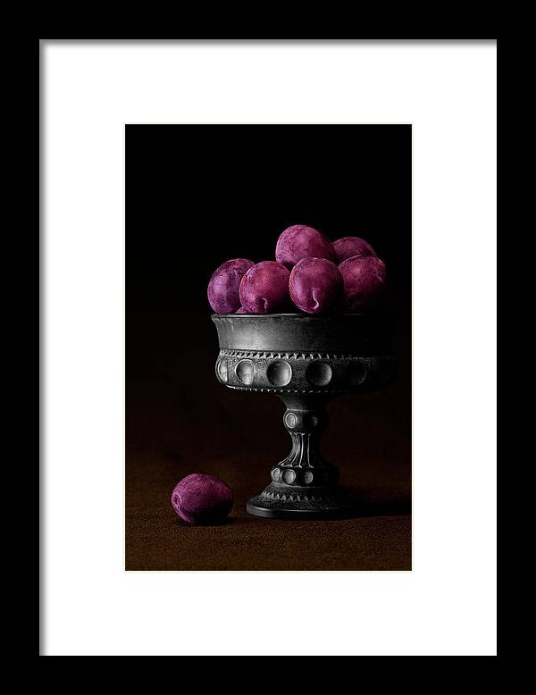 Bowl Framed Print featuring the photograph Still Life with Plums by Tom Mc Nemar