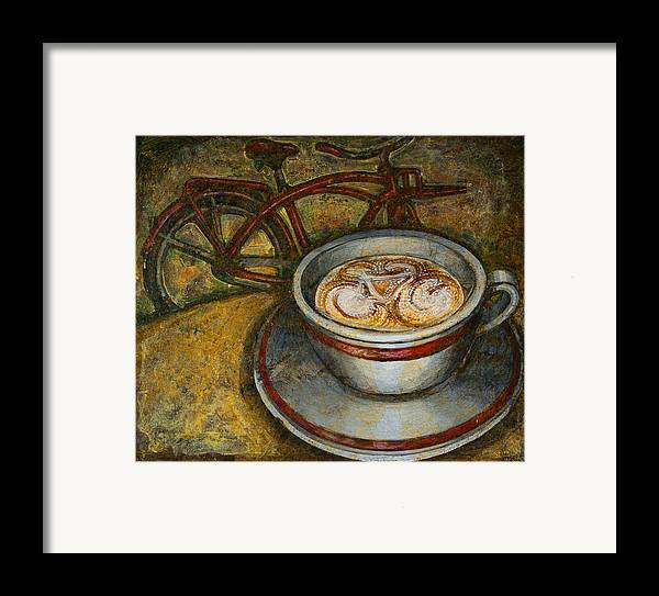 Coffee Framed Print featuring the painting Still Life With Red Cruiser Bike by Mark Jones