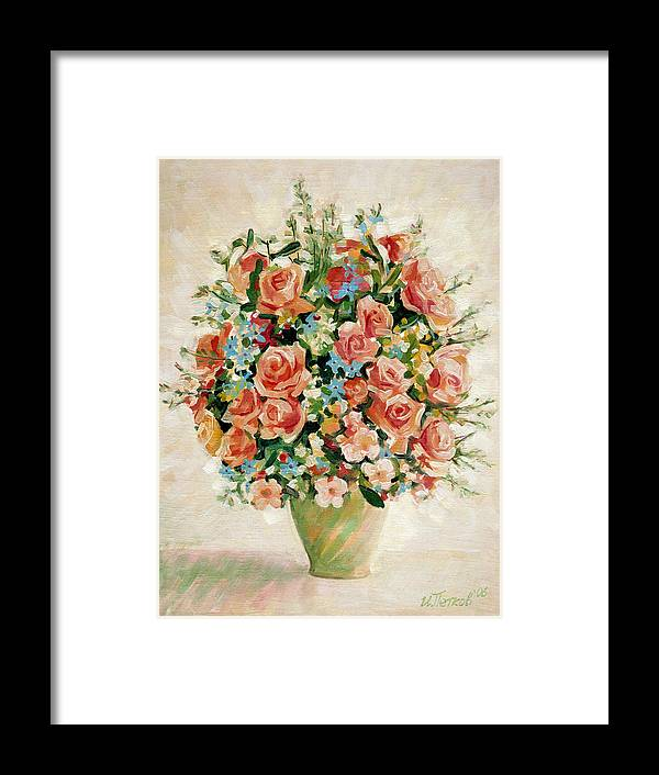 Flowers Framed Print featuring the painting Still Life with Roses by Iliyan Bozhanov