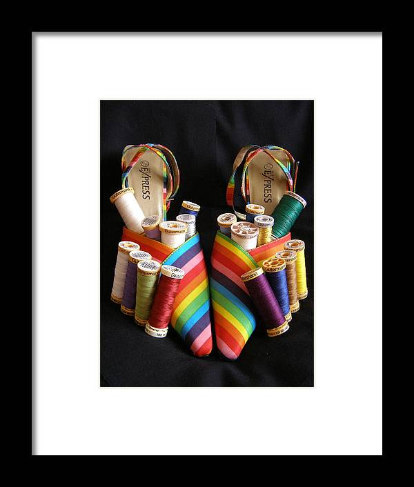 Shoes Framed Print featuring the photograph Still Life With Shoes And Thread by Catherine Ali