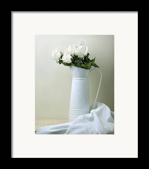 Stilllife Framed Print featuring the photograph Still Life With White Roses by Krasimir Tolev