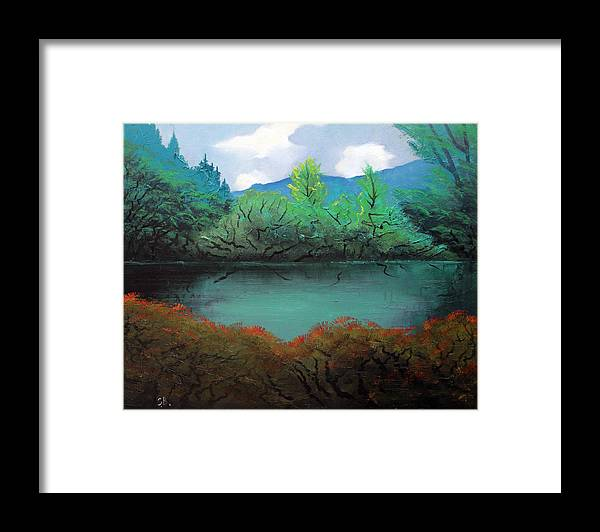 Landscape Framed Print featuring the painting Still water by Sergey Bezhinets