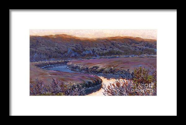Landscape Framed Print featuring the painting Stillness At Twilight by Betsee Talavera