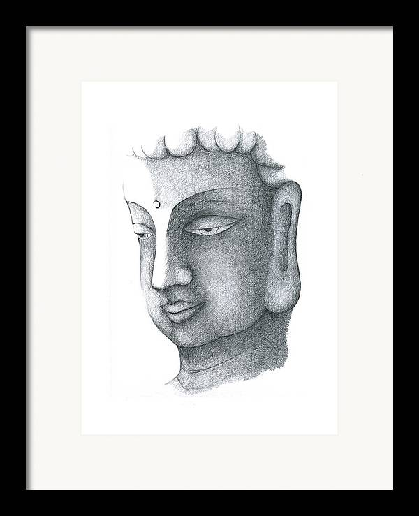 Buddha Framed Print featuring the drawing Stillness by Keiko Katsuta