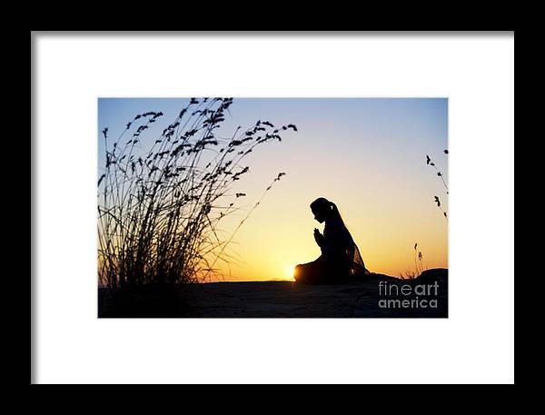Girl Framed Print featuring the photograph Stillness Of Prayer by Tim Gainey