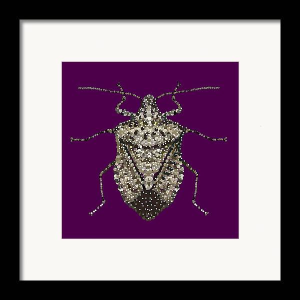 Stink Bug Framed Print featuring the digital art Stink Bug Bedazzled by R Allen Swezey
