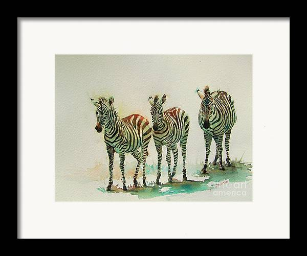 Zebras Framed Print featuring the painting Stipes II by Patricia Henderson