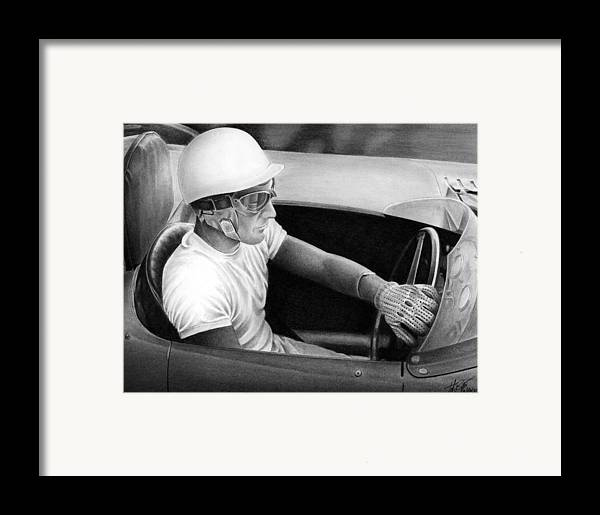 Stirling Moss Framed Print featuring the drawing Stirling Performance by Lyle Brown