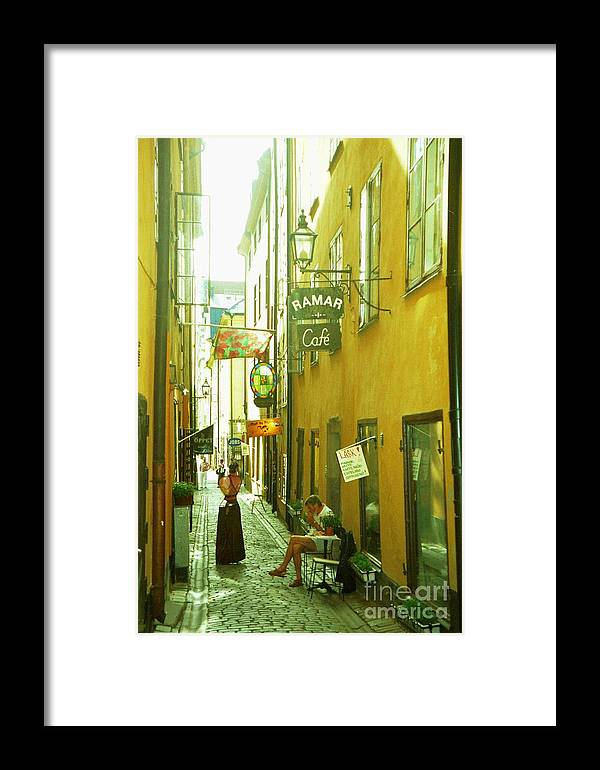 Sweden Framed Print featuring the photograph Stockholm City Cafe by Ted Pollard