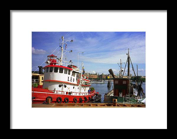 Sweden Framed Print featuring the photograph Stockholm Harbor Ships by Ted Pollard