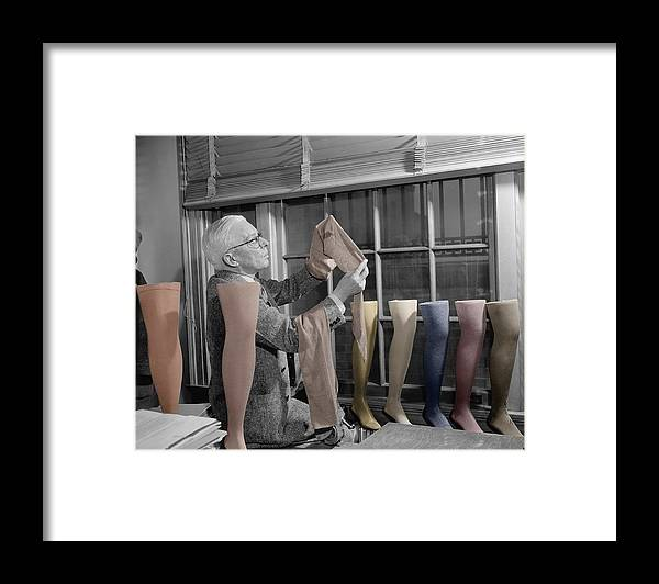Hosiery Framed Print featuring the photograph Stocking Inspector by Andrew Fare