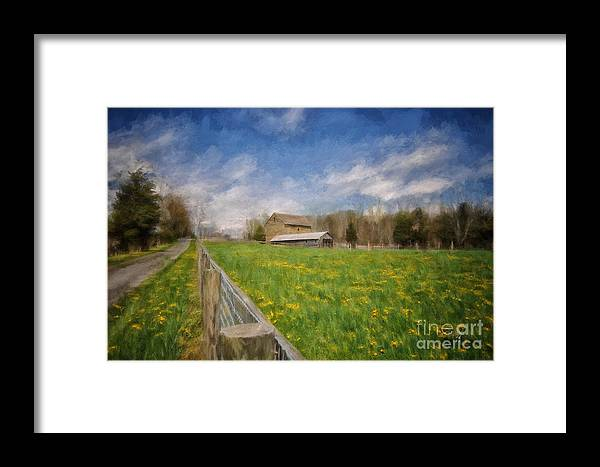 Barn Framed Print featuring the photograph Stone Barn On A Spring Morning by Lois Bryan