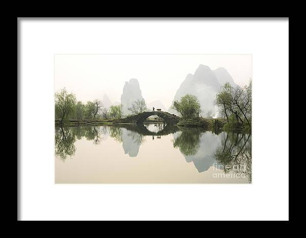 Bridge Framed Print featuring the photograph Stone Bridge In Guangxi Province China by King Wu