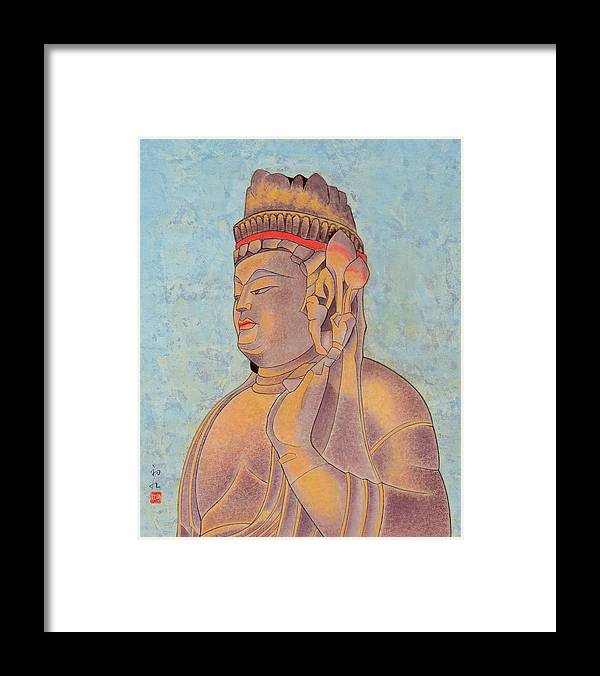 Japanese Framed Print featuring the painting Stone Buddha / Purity by Hatsue Inoue