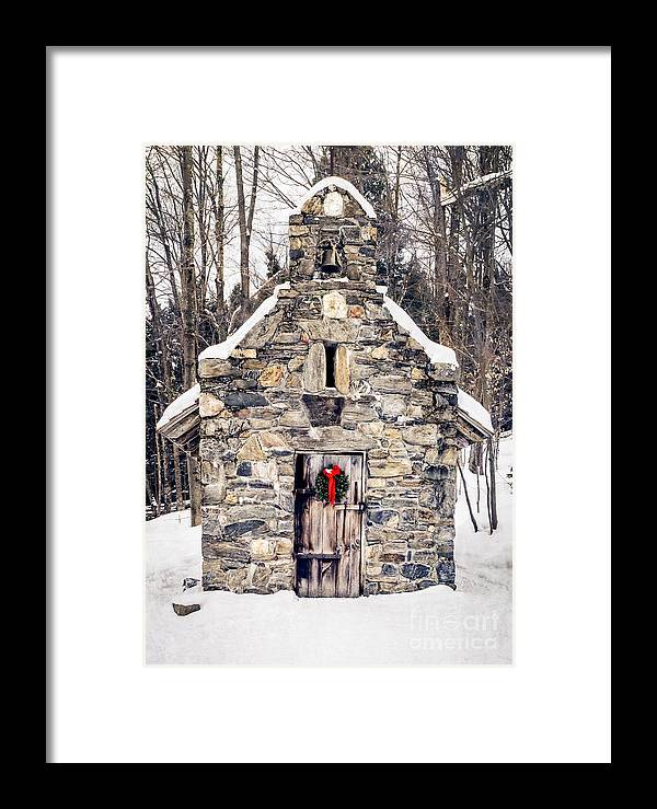 Chapel Framed Print featuring the photograph Stone Chapel In The Woods Trapp Family Lodge Stowe Vermont by Edward Fielding