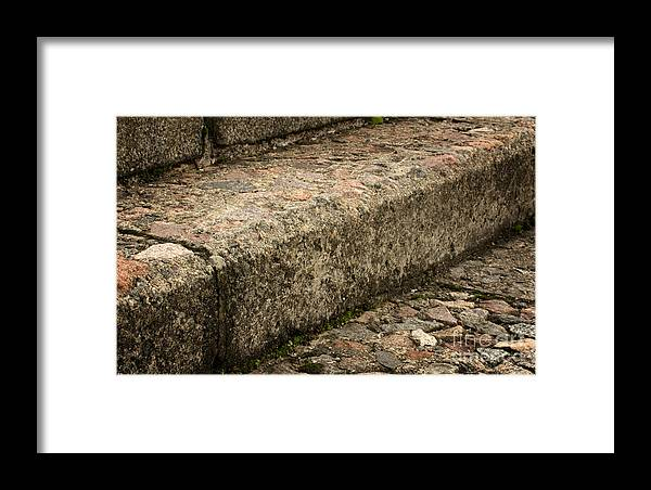 Stone Stairs Fragment Framed Print featuring the photograph Stone Stairs Fragment by Jolanta Meskauskiene