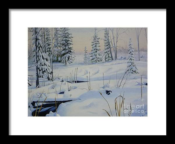 Winter Landscape In Stoney Swamp On The Ottawa Green Belt Framed Print featuring the painting Stoney Swamp by Al Hunter