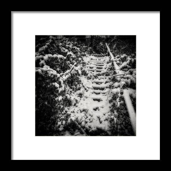 Chilly Framed Print featuring the photograph Stony Steps Covered With Snow by Peter v Quenter