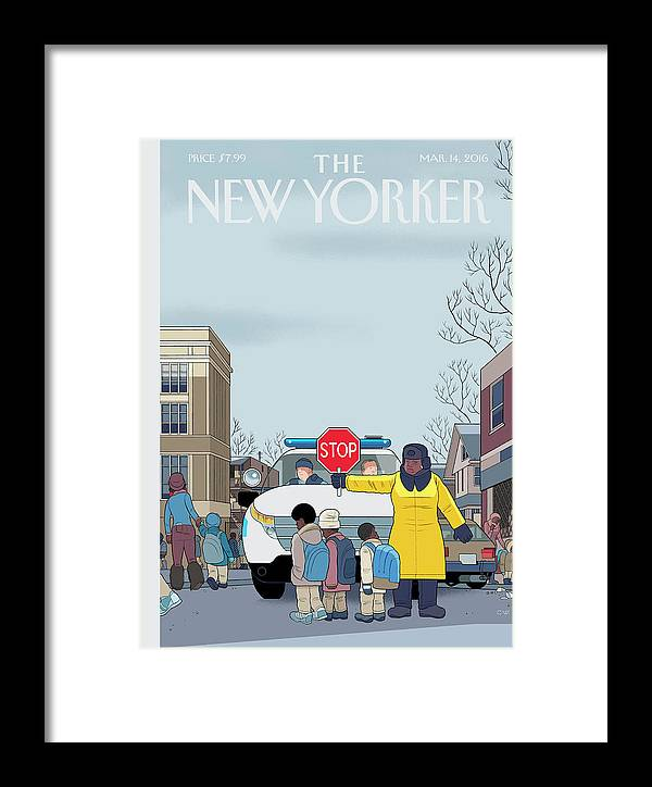 Police Framed Print featuring the painting Stop by Chris Ware