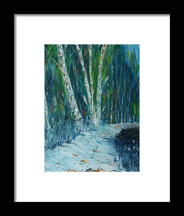 Stopping By Woods On A Snowy Evening Framed Print featuring the painting Stopping By Woods On A Snowy Evening by Conor Murphy