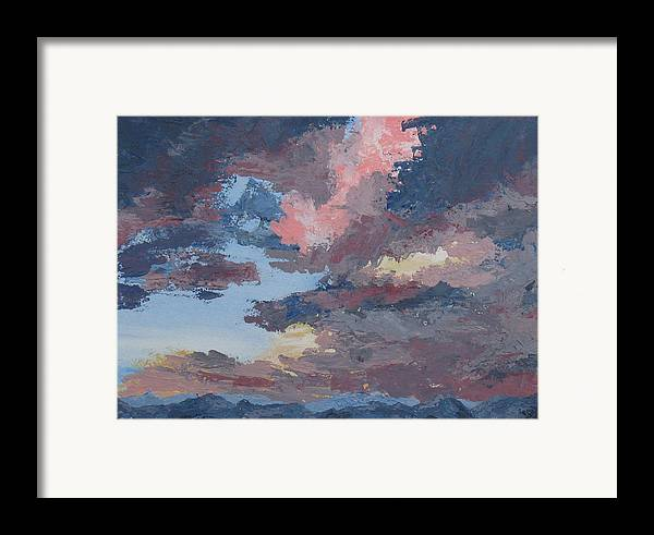 Stormy Sky Framed Print featuring the painting Storm A Brewin by Janis Mock-Jones