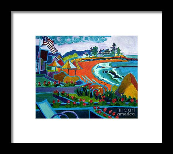 Landscape Framed Print featuring the painting Storm Brewing Hampton NH by Debra Bretton Robinson