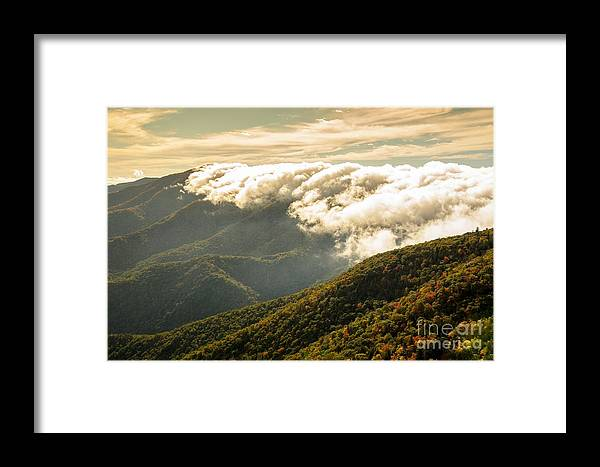 Storm Framed Print featuring the photograph Storm Clouds Moving Out On The Blue Ridge by Larry Knupp