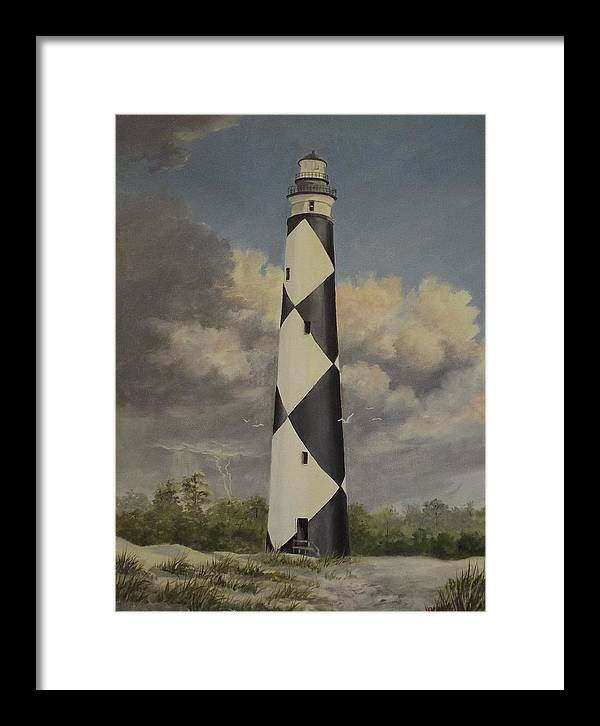 Stormy Skys Framed Print featuring the painting Storm Over Cape Fear by Wanda Dansereau