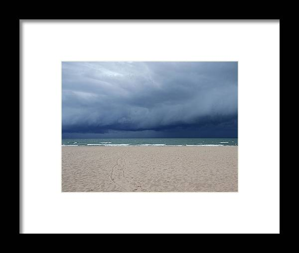 Storm Framed Print featuring the photograph Storm Over Lake Michigan by Susan Wyman
