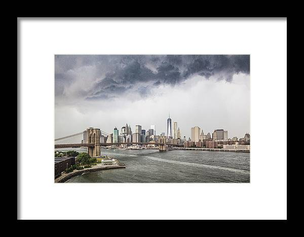 Manhattan Framed Print featuring the photograph Storm Over Manhattan Downtown by Alex Potemkin