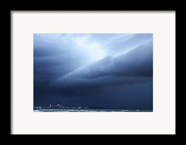 Storm Framed Print featuring the painting Storm Over Siesta Key - Beach Art By Sharon Cummings by Sharon Cummings