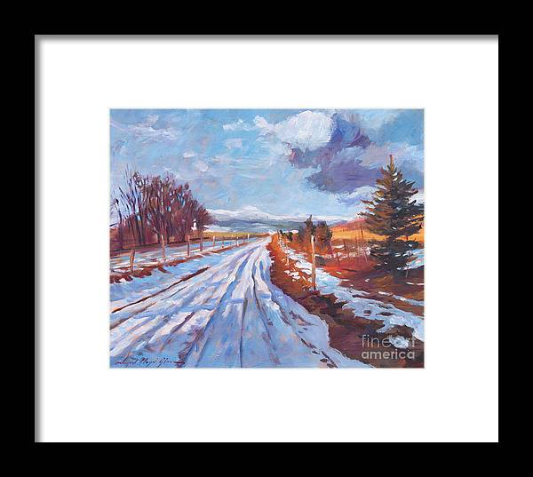 Winter Framed Print featuring the painting Storm Passing by David Lloyd Glover