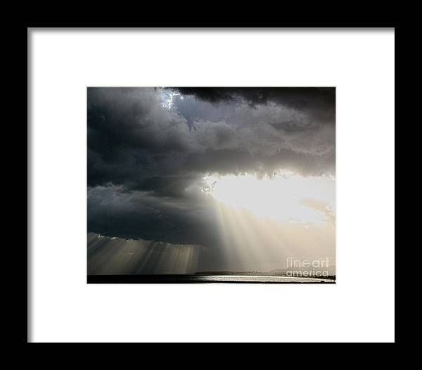 Sea Framed Print featuring the photograph Storm Rays by Robin Waters
