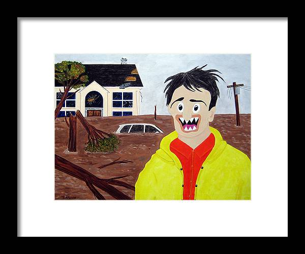Hurricane Sandy Framed Print featuring the painting Storm by Sal Marino