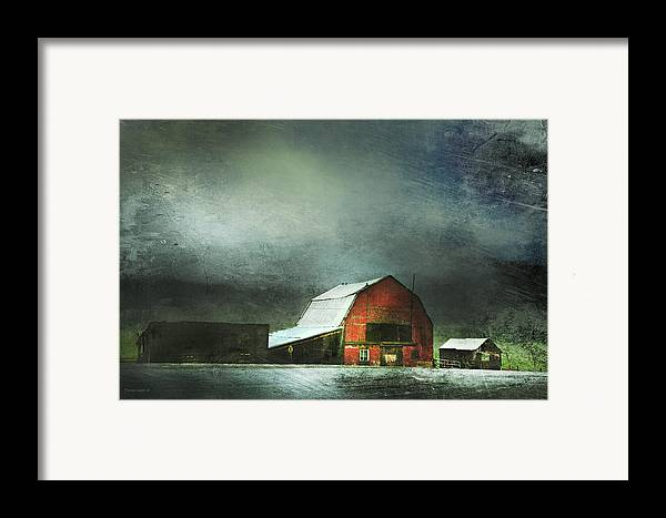 Red Barn Framed Print featuring the photograph Storm by Theresa Tahara