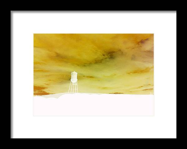 Water Tower Framed Print featuring the photograph Storm Up On The Hill by Max Mullins