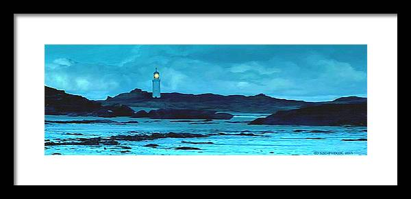 Lighthouse Framed Print featuring the painting Storm's Brewing by Sophia Schmierer