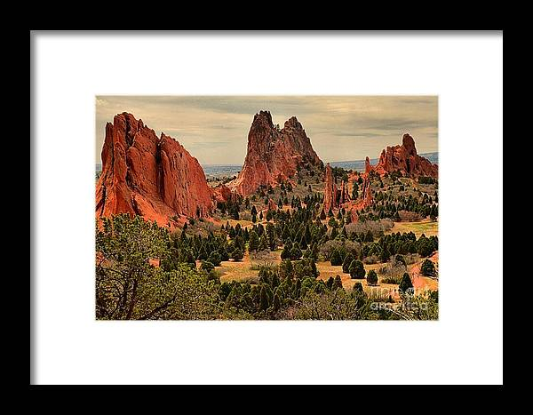 Garden Of The Gods Framed Print featuring the photograph Storms Passing Over The Garden by Adam Jewell