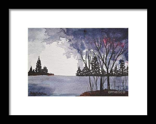 Lake Framed Print featuring the painting Stormy Lake by Sally Rice