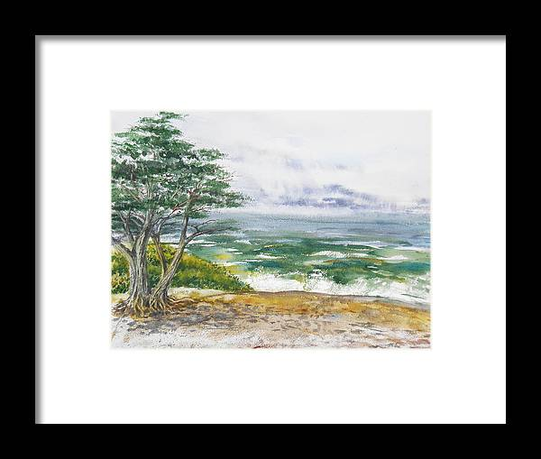 Seascape Framed Print featuring the painting Stormy Morning At Carmel By The Sea California by Irina Sztukowski