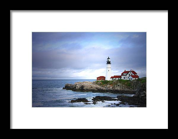Lighthouse Portland Head Light Framed Print featuring the pyrography Stormy Night At Portland Headlight by Ronald Fleischer