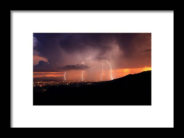 Tucson Framed Print featuring the photograph Stormy Sunset by Eric Joyce