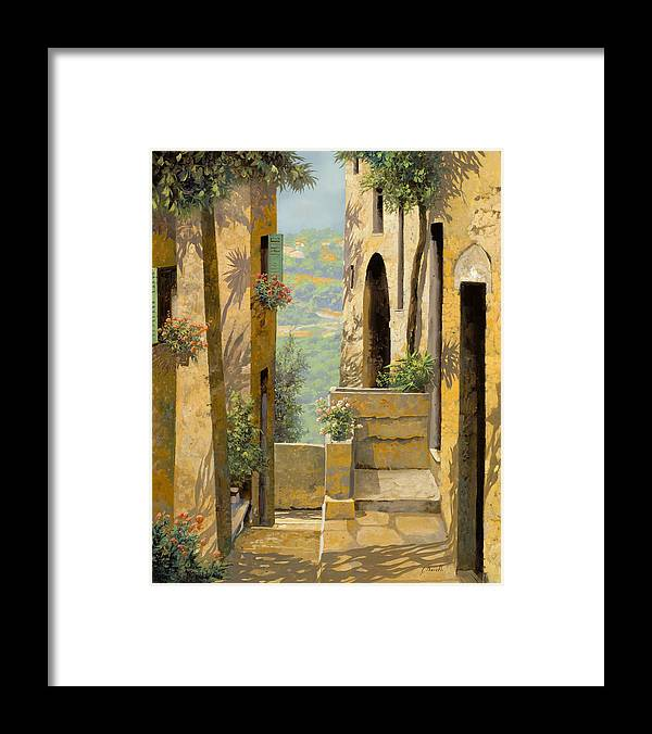 Landscape Framed Print featuring the painting stradina a St Paul de Vence by Guido Borelli