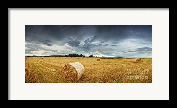 Storm Framed Print featuring the photograph Straw Bales Pano by Jane Rix