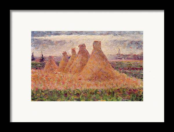 Stacks Framed Print featuring the painting Straw Stacks by Georges Pierre Seurat