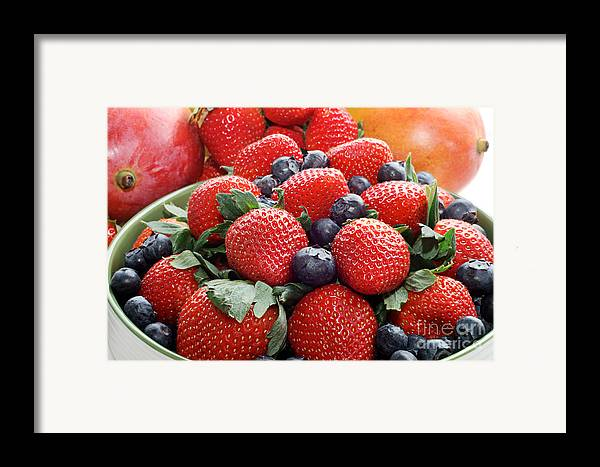 Strawberries Framed Print featuring the photograph Strawberries Blueberries Mangoes - Fruit - Heart Health by Andee Design