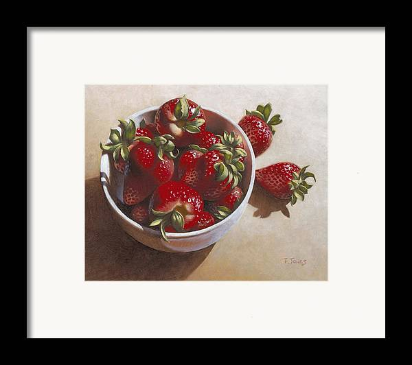 Strawberries Framed Print featuring the painting Strawberries In China Dish by Timothy Jones