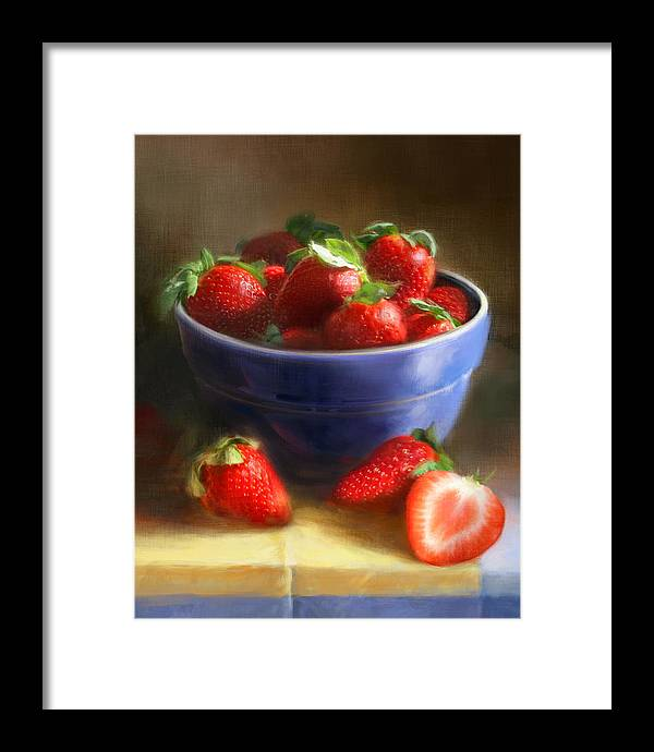 Strawberry Framed Print featuring the painting Strawberries on Yellow and Blue by Robert Papp